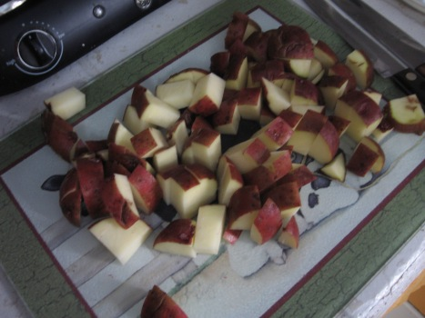 Red potatoes cut about 3/4 - 1 inch thick