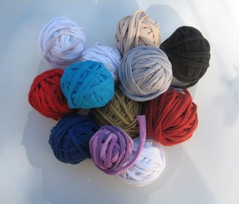 T-shirt yarn. Each ball represents a whole shirt