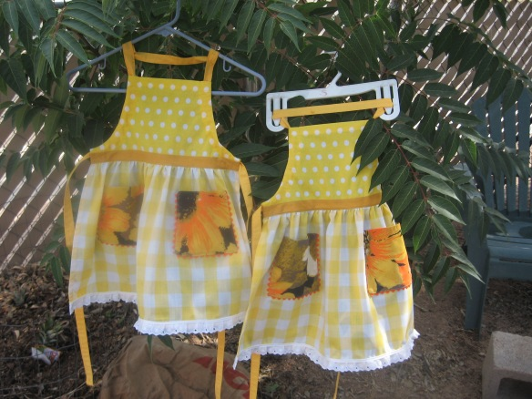 two little aprons flying in the breeze