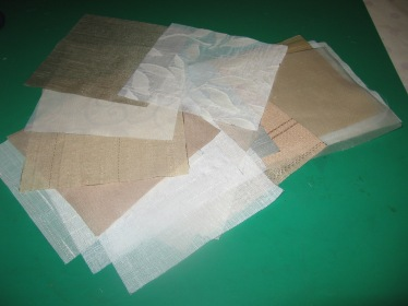 All of the sheer sample swatches cut out ready to assemble