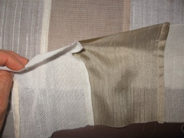 Front and back sides of finished French seam